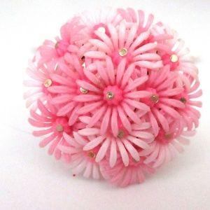 Vtg Plastic Flower Pin Pink Daisies Half Round